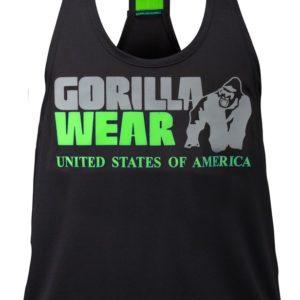 Gorilla Wear Womens Odessa Cross Back Tank Top Black//Neon Lime Fitness